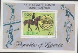 O) 1976 LIBERIA-AFRICA, HORSE RIDING-EQUITATION, XXI OLYMPIC GAMES MONTREAL, SOUVENIR MNH - Liberia