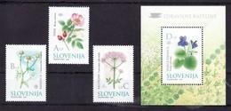 1261/ Slowenien Slovenia Slovenie 2002 Mi.No.396 - 399 ** MNH Seria + Block Heilpflanzen Flowers Blumen Medicinal Plants - Heilpflanzen