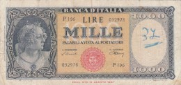 Lire Mille, Medusa, Banca D'Italia Dec. 14 Agosto 1947 - 1000 Lire