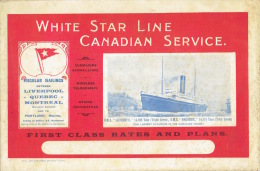 """Booklet june 1913 WHITE STAR LINE CANADIAN SERVICE - First Class rates and plans of R.M.S. """"LAURENTIC"""" &  """"MEGANTIC"""""""