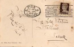 1931 CARTOLINA CON ANNULLO PISA + TARGHETTA - Marcophilie