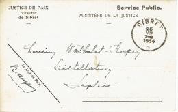 Carte De Service En Franchise Justice De Paix  De SIBRET 26 JUILLET 1934 Vers LEGLISE - Cachet De SIBRET - Marcophilie