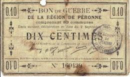 BON De GUERRE De 0,10 Centimes Du 2 Septembre 1915 De La REGION DE PERONNE - Bons & Nécessité
