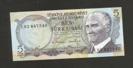 [NC] TURKEY - NATIONAL BANK - 5 LIRA (1970) - Turchia