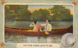 Romantic Couple In Canoe You Look Mighty Good To Me Shell Border - Couples