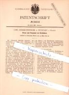 Original Patent  - Carl Scharfenberger In Neustadt A. Haardt , 1883 , Presse Zum Verpacken Von Strohhülsen  !!! - Documents Historiques