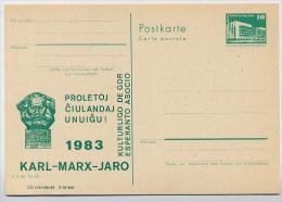 DDR P84-347-83 C54 Postkarte Zudruck ESPERANTO KARL-MARX-JAHR 1983 - Karl Marx