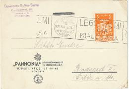 """ESPERANTO Card """"PANNONIA"""" LÉGOLTALMI LIGA KIÁLLITÁSA 1937 Nemzetközi Vásár (backside Empty) - Marcophilie"""