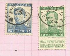 Belgique N°120, 121   Côte 2.95 Euros - 1912 Pellens