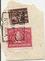 Q-PERFIN-DEMOCRATICA 2 LIRE+ RECAPITO AUTORIZZATO 8 LIRE SU FRAMMENTO - 6. 1946-.. Repubblica