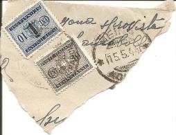 Q-PERFIN-SEGNATASSE CENT 10+ CENT 10 SOVRASTAMPATO FASCI-15-5-44 SU FRAMMENTO - 4. 1944-45 Repubblica Sociale