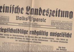 Rheinische Landeszeitung Vom 31.1.1937, Rede Im Reichstag: Kriegsschuldlüge - Wiederherstellung Der Deutschen Ehre - Deutsch
