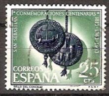 ESPAÑA SEGUNDO CENTENARIO  USD Nº 1516 (0) 25C VERDE SAN SEBASTIAN - 1961-70 Oblitérés