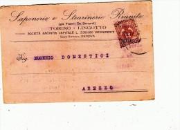 Saponerie E Stearinerie Riunite. Testatina Pubblicitaria Per Arezzo. 1917 - Commercio
