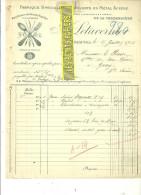 50 - Manche - SOURDEVAL - Facture LETAVERNIER - Fabrique De Couverts En Métal Aciéré – 1913 - REF 141 - France