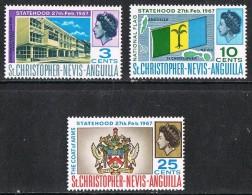 St Christopher Nevis Anguilla SG182-184 1967 Statehood Set 3v Complete Unmounted Mint [28/24480/1D] - St.Christopher-Nevis-Anguilla (...-1980)
