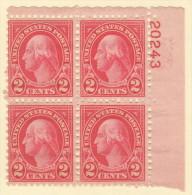 USA SC #634  2c Washington MNH PB4  #20243, CV $6.50 - Plate Blocks & Sheetlets