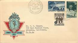 1959  Exlorers 5d On 4d, 5d On 7d And 1/-  On Generic Hermes Red Cachet - FDC