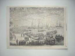 GRAVURE 1860. Italie; LE GENERAL BOSCO ET LES TROUPES NAPOLITAINES EVACUANT MILLAZZO. EXPLICATIF AU DOS................. - Stiche & Gravuren