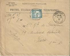 2430 PONTRUET Aisne Recette Distribution Lautier B4 Recouvrement Yv 60 1F Taxe à Percevoir Vert Enveloppe N° 819 - Francia