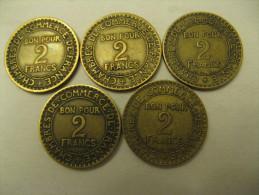 LOT DE 5 PIECES 2 F CHAMBRE DE COMMERCE DE FRANCE  DOMARD 1921 A 1925