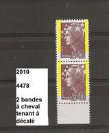 Variété Sur Paire De 2010 Neuf** Y&T N° 4478 Avec 2 Bandes  à Cheval Tenant à Décalé - Varieties: 2010-.. Mint/hinged