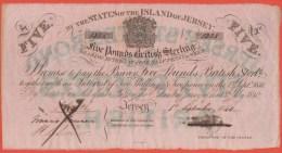 JERSEY - 5 Pounds Du 1er Septembre 1840 - Annulé A La Plume- Pick A1 - XF+ - Jersey