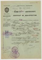 PARIS MAIRIE DU 14 EME CERTIFICAT DE NON OPPOSITION TIMBRE FISCALE ET CACHET MAIRIE DE MAZAMET LE 16 MARS 1929 - Historische Dokumente