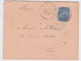 Lettre De Masera Italie 1887 Pour Paris Etranger Ambulant Au Verso - Marcophilia