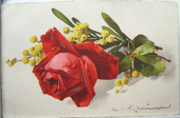 Litho Illustrateur Signé Klein JOUNOK N° 178 Fleur Roses Rose Rouge Goutte Rosée Et MIMOSAS Mimosa - Klein, Catharina
