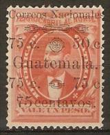 GUATEMALA    -   1886 .  VARIETY  -  Y&T N° 29a * . Surchargé De 2 Valeurs Différentes - Guatemala