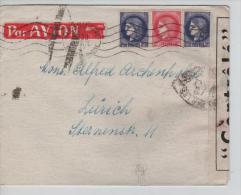TP Céres S/L.Avion  C.Marseille En 1945 Censurée WK V.Suisse PR1355 - France