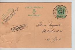 Entier 30 C Houyoux C.Moerbeke (Waas)+ Griffe Encadrée Wachtebeke En 1927 V.Gent PR1360 - Postmark Collection