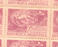 REPUBLICA ARGENTINA AÑO 1947 - SEMANA DE AERONAUTICA OFFSET SIN FILIGRANA  DENTADO 13,25 X 13 BORRAVINO LILA ROSA - Neufs