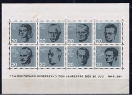 D+ Deutschland 1964 Mi Bl. 3 - 431-38 Mnh Hitler-Attentat - [7] République Fédérale
