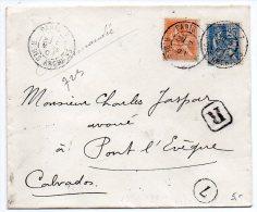 Mouchon 15c + 25c Sur Lettre Recommandée De 1901 - Postmark Collection (Covers)