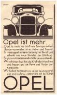 Original Werbung - 1929 - OPEL  , Oldtimer !! - KFZ