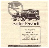 Original Werbung - 1929 - ADLER Favorit - Krankenwagen , Arzt , Oldtimer !! - KFZ