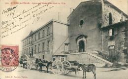 CPA 26 BOURG DE PEAGE EGLISE DES MINIMES HOTEL DE VILLE SUPERBES ATTELAGES - Sin Clasificación