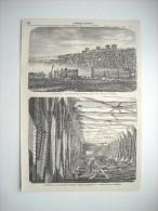 GRAVURE 1860. LE PONT METALLIQUE DE BORDEAUX; VUE DES TRAVAUX. VUE INTERIEURE DU PONT METALLIQUE. EXPLICATIF AU DOS..... - Prints & Engravings
