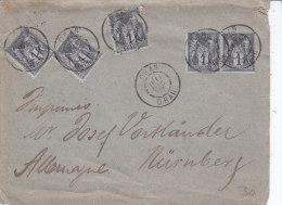 Algerie Oran, Enveloppe Aff Par Cinq Fois 1 Ct Sage, Envoyée En Allemagne, Curieux ! - 1876-1898 Sage (Tipo II)