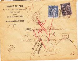Sage Paris Enveloppe Recommandee Justice , Retour à L'Envoyeur Plus Cachet Décédé - 1876-1898 Sage (Type II)