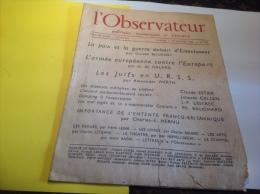 L Observateur  Politique économique Et Littéraire Paix Guerre 1953  Les Juifs En URSS Par Alexander Werth - Ohne Zuordnung