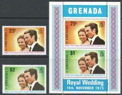Grenada. 1973 Royal Wedding.  MNH Set + Miniature Sheet. SG 582-MS584 - Grenada (...-1974)