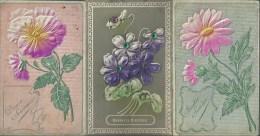 411Go    Lot De 7 Cpa Gauffrées Fleurs Paillettes Art Nouveau - Non Classificati