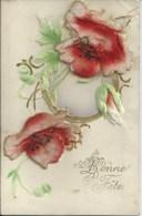411Go    Cpa Trés Gauffrée Fleurs Velours - Non Classificati
