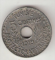 *tunesia  5 Centimes 1919  Km 242    Vf+ - Túnez