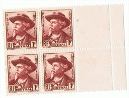1941 - Fréderic MISTRAL - Bloc De 4 Timbres Neufs  - Yvert & Tellier N° 495 - Neufs