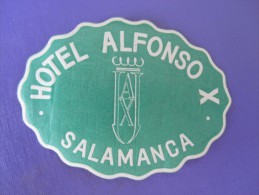 HOTEL RESIDENCIA PENSION HOSTAL CAMPING ALFONSO SALAMANCA SPAIN LUGGAGE LABEL ETIQUETTE AUFKLEBER DECAL STICKER MADRID - Hotel Labels