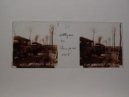 Photo Plaque De Verre Stéréoscopique Guerre 14-18 Poilus Attaque De Champagne Camions - Diapositiva Su Vetro